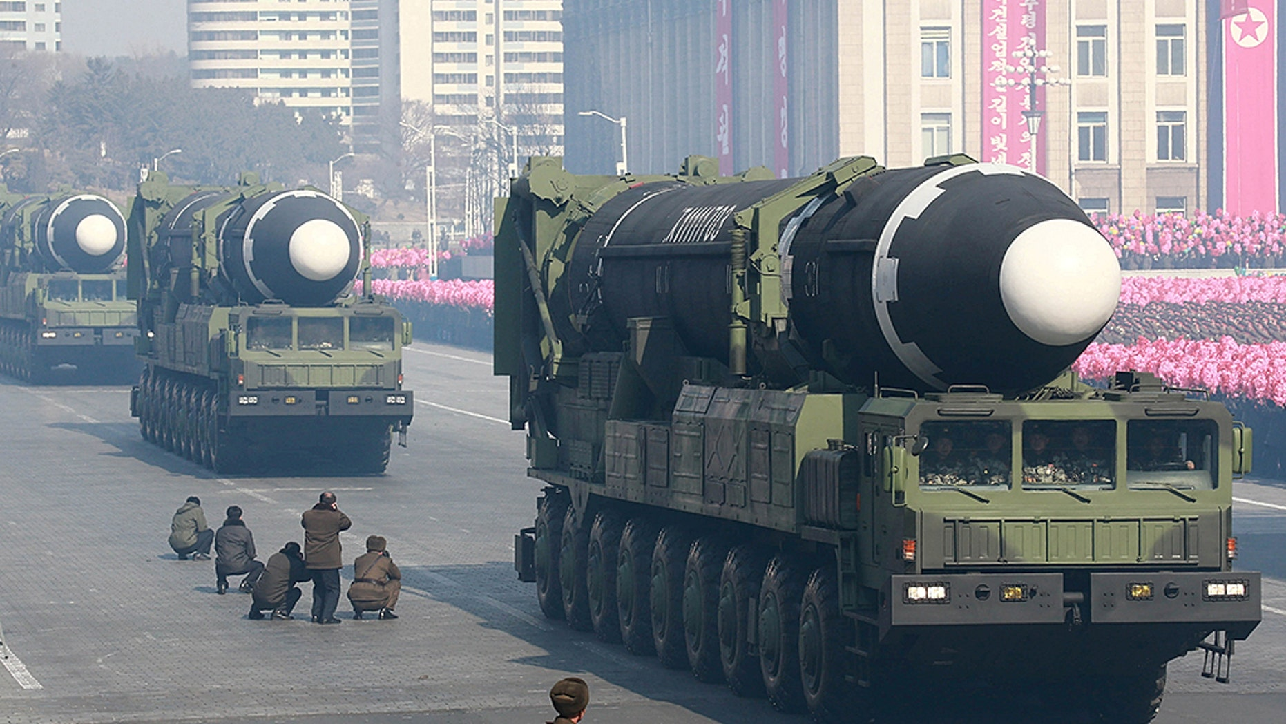 Intercontinental ballistic missiles are seen at a grand military parade in Pyongyang, North Korea.