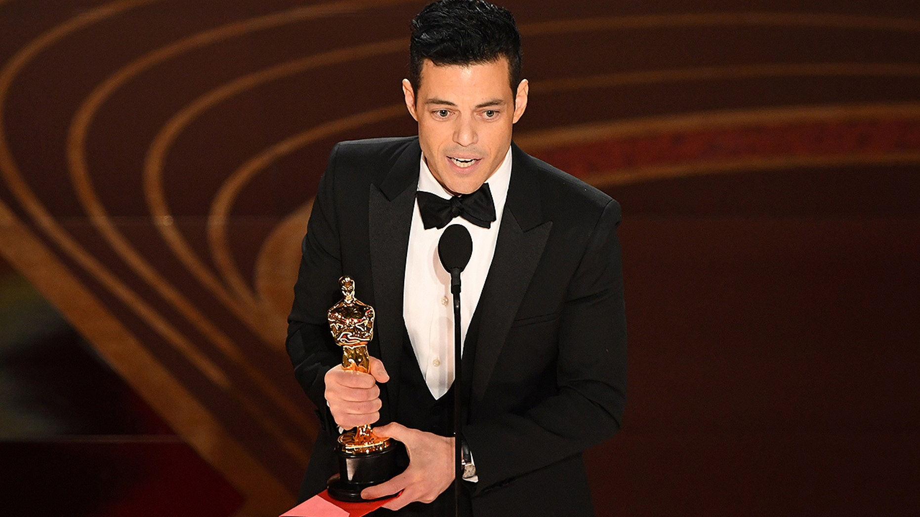 "Best Actor nominee for ""Bohemian Rhapsody"" Rami Malek accepts the award for Best Actor during the 91st Annual Academy Awards at the Dolby Theatre in Hollywood, California on February 24, 2019."