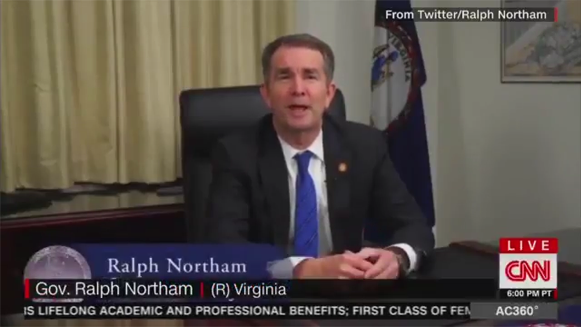 CNN labeled embattled Virginia Democrat Gov. Ralph Northam as a Republican in a chyron during a segment about his apology after his 1984 medical school yearbook page that showed him dressed either in blackface or in a KKK robe.
