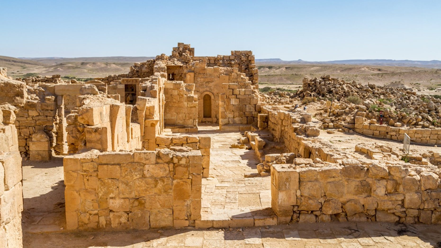 Ruins from a ancient city of Shivta in a Negev Desert in Israel.