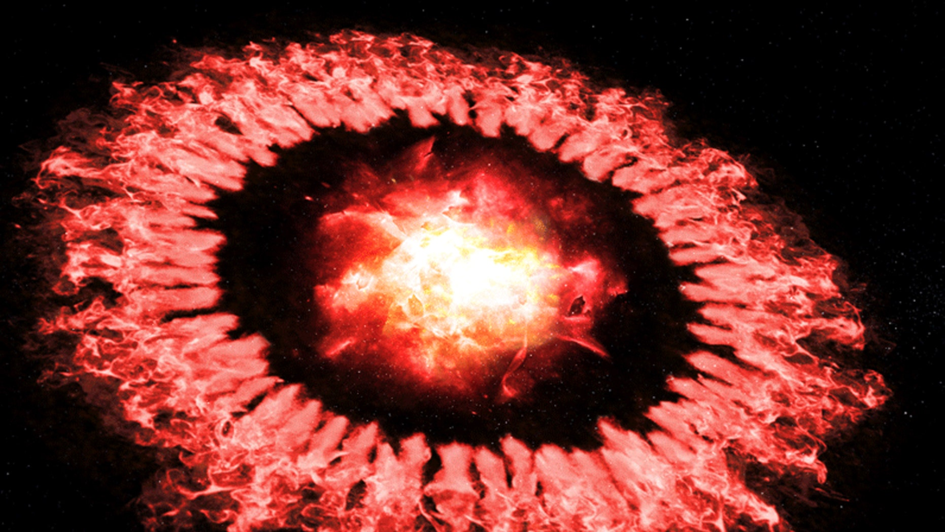 The artist's concept depicting Supernova 1987A, as a powerful explosion wave, passes through the outer ring and destroys most of the dust until dust re-emerges or grows rapidly