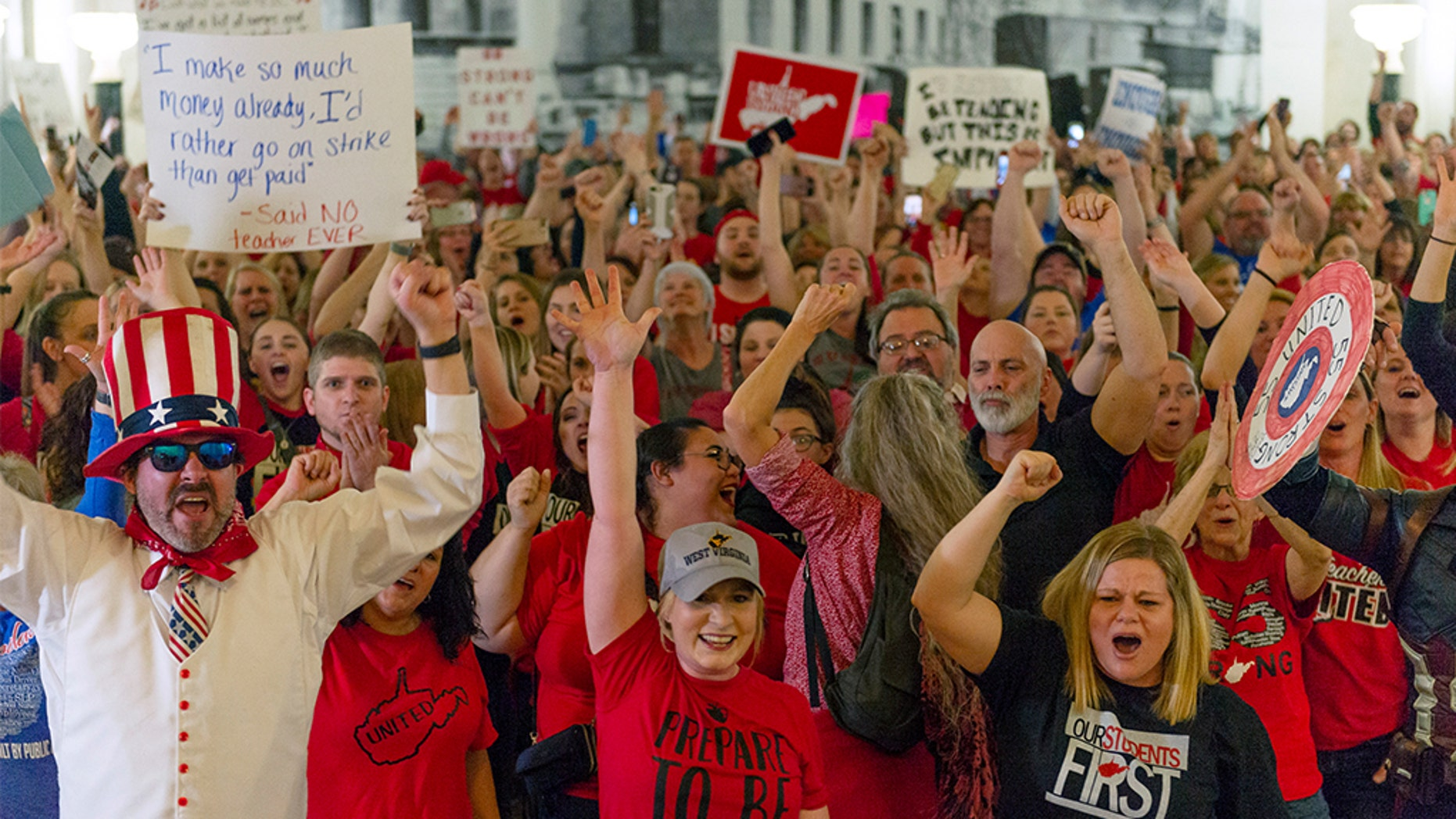 A bill that closed West Virginia schools as teachers went on strike was tabled by state lawmakers hours after the protest began on Feb. 19, 2019.