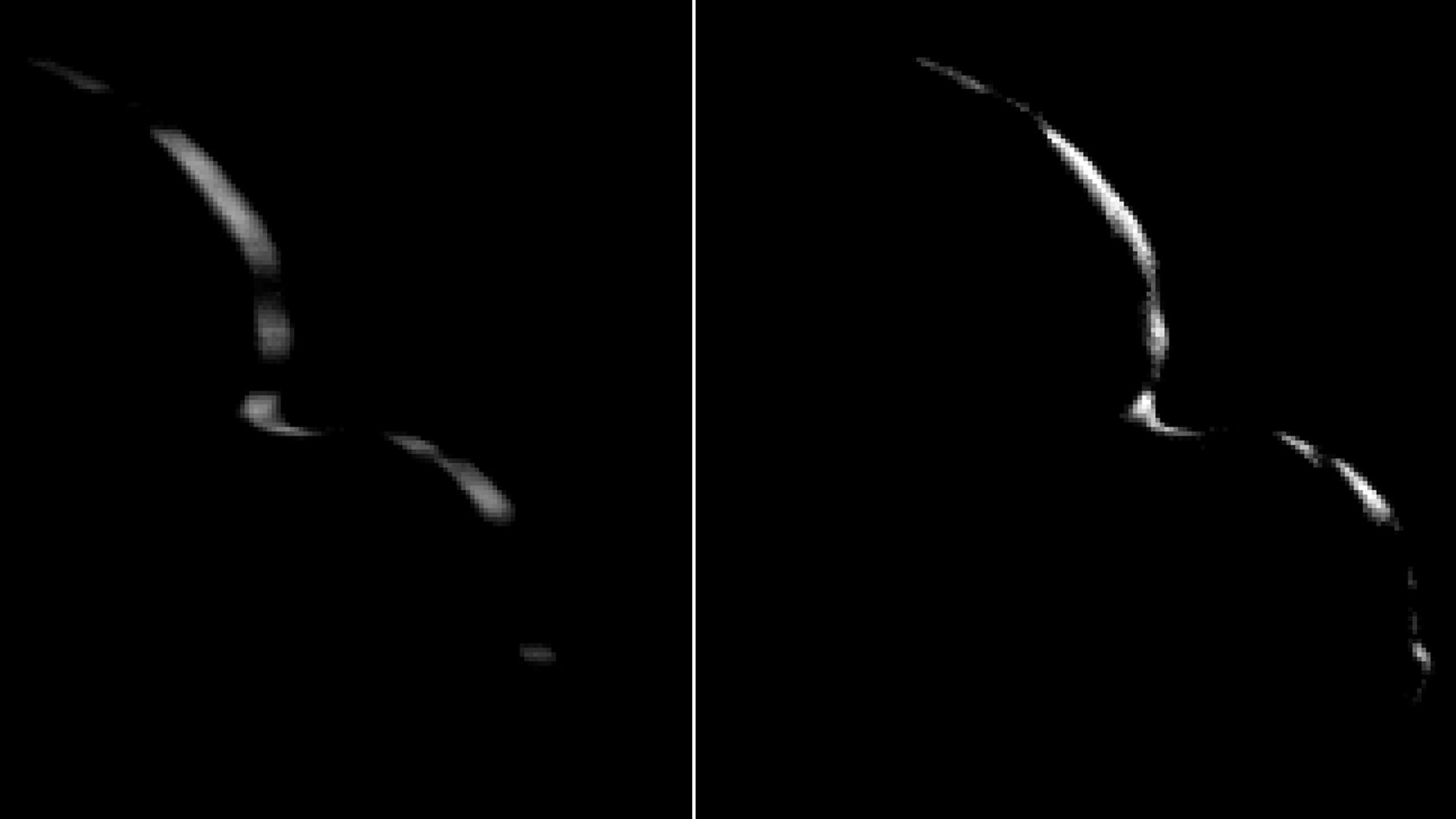 """New Horizons took this image of Ultima Thule on Jan. 1, 2019, when the NASA spacecraft was 5,494 miles (8,862 kilometers) beyond it. The image to the left is an """"average"""" of ten images taken by the Long Range Reconnaissance Imager; the crescent is blurred in the raw frames because a relatively long exposure time was used during this rapid scan to boost the camera's signal level. Mission scientists have been able to process the image, removing the motion blur to produce a sharper, brighter view of Ultima Thule's thin crescent. (Credit: NASA/Johns Hopkins Applied Physics Laboratory/Southwest Research Institute/National Optical Astronomy Observatory)"""