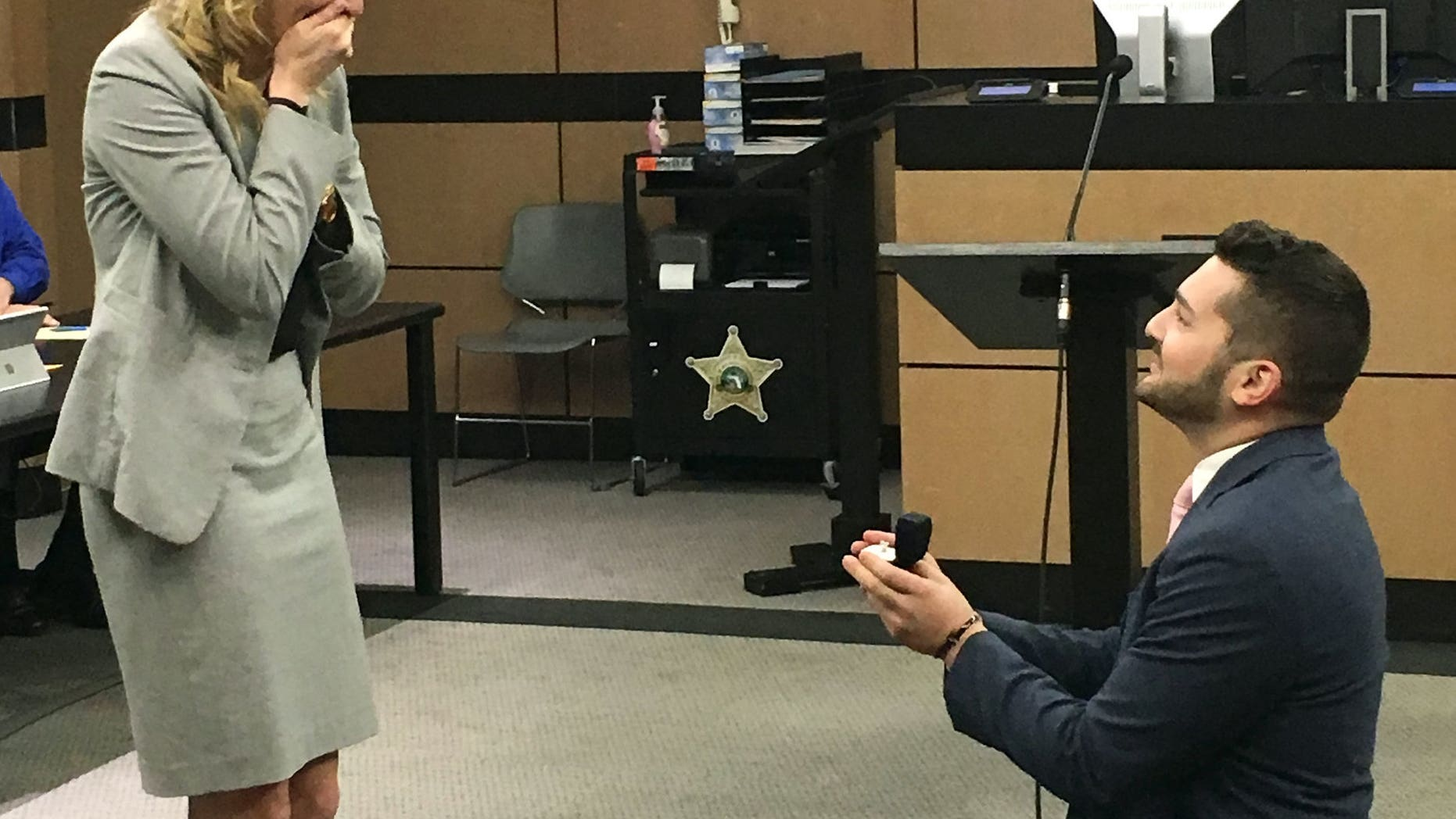 Brandon Dinetzconstructed an elaborate fake legal trial at the Palm Beach County Courthouse to propose to his fellow legal-eagle girlfriend Jen