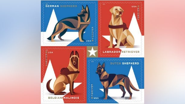 The U.S. Postal Service will issue booklets of 20 stamps to honor the military service dogs later this year. (U.S. Postal Service)