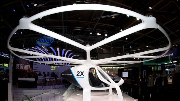 Frankfurt's international airport is working on a concept in cooperation with the Volocopter GmbH, which developed the multi-rotor electric aircraft Volocopter 2x, seen here at an electronics fair in Germany in 2018.