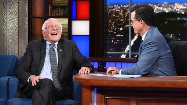 The Late Show with Stephen Colbert and guest Sen. Bernie Sanders during his September 7, 2017 show. (CBS)