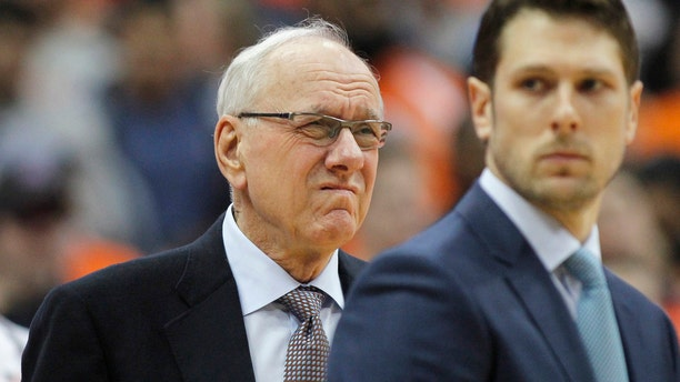Syracuse coach Jim Boeheim waits for the team's NCAA college basketball game against Duke in Syracuse, N.Y., Saturday, Feb. 23, 2019.