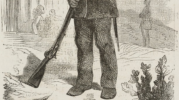 Sentry, African American Union soldiers, American Civil war, illustration from L'Illustration, Journal Universel, No 1093, Volume XLIII, February 6, 1864.