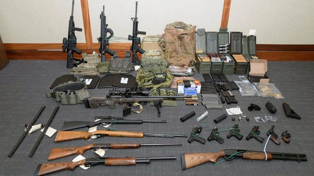 Prosecutors say these firearms and ammunition were found in Coast Guard Lt. Christopher Hasson's Maryland apartment.
