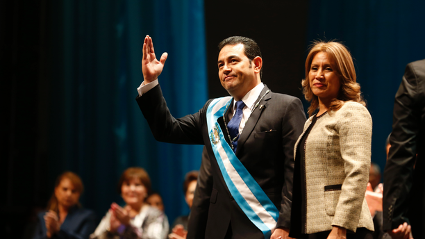 FILE - In this Jan. 14, 2016 file photo, first lady Hilda Patricia Marroquin de Morales accompanies her husband Guatemalan President Jimmy Morales, at the National Theater in Guatemala City. Guatemala's chief prosecutor announced on Friday, Feb. 22, 2019 that her office has initiated an investigation of alleged corruption against the first lady. (AP Photo/Moises Castillo, File)