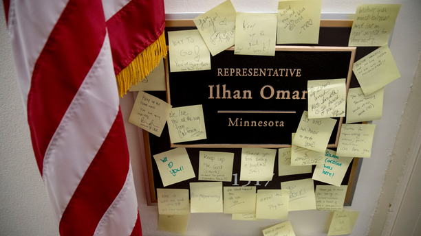 "People leave post-it notes of support outside the office of Rep. Ilhan Omar, D-Minn., on Capitol Hill, Monday, Feb. 11, 2019, in Washington. Omar has ""unequivocally"" apologized for tweets suggesting a powerful pro-Israel interest group paid members of Congress to support Israel. Earlier Monday, House Speaker Nancy Pelosi and other Democrats had rebuked her for the tweets. (AP Photo/Andrew Harnik)"