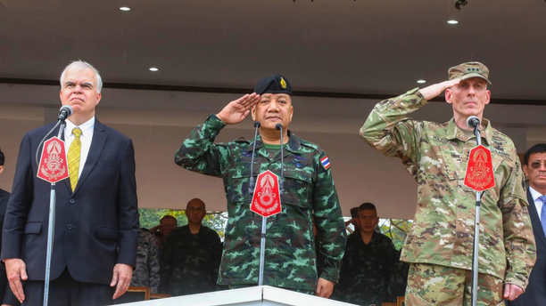 In this photo by release Royal Thai Armed Forced Headquarters, from left; acting U.S. ambassador Peter Haymond, The Royal Thai Armed Forces, Gen. Pornpipat Benyasri, Commander, and U.S. Army First Corps representing U.S. Indo-Pacific Command Lt. Gen. Gary J. Volesky salute during the opening ceremony of the joint military exercise Cobra Gold 2019, Phitsanulok Province, Thailand. Tuesday, Feb. 12, 2019. The exercise will take place from Feb. 12-22 focusing on military Field Training Exercise, Humanitarian Civic Assistance to communities and Humanitarian Assistance and Disaster Relief Exercise. (Royal Thai Armed Forced Headquarters via AP)