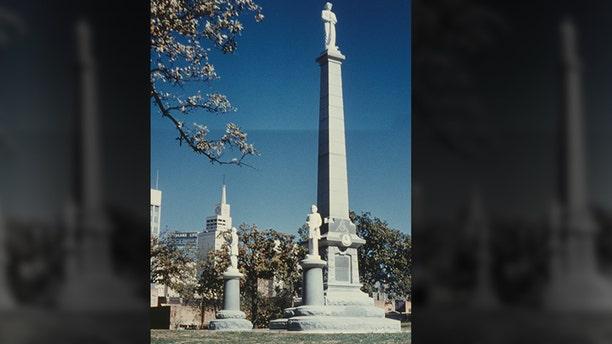 The Confederate Monument in the Pioneer Cemetery in Dallas, Texas, USA, circa 1965.