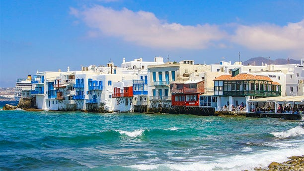 Famous pictorial waterfront of Little Venice in Mykonos town. Little Venice is one of the most romantic places in Mykonos island, that belongs to Cyclades islands, Greece.