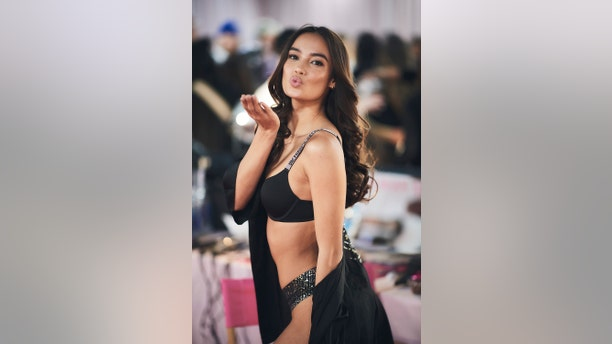 Kelsey Merritt poses backstage prior the Victoria Secret Fashion Show 2018 at Pier 94 on Nov. 8, 2018 in New York City.