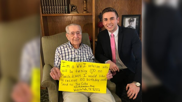 Joe Cuba, a World War II veteran, has just one wish for his birthday this year - 100 cards for 100 years.