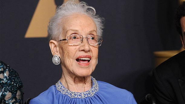 Physicist Katherine Johnson poses in the press room at the 89th annual Academy Awards at Hollywood