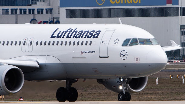 FEB 11: An Airbus A320 of the airline Lufthansa is taxiing on the tarmac at Frankfurt Airport.