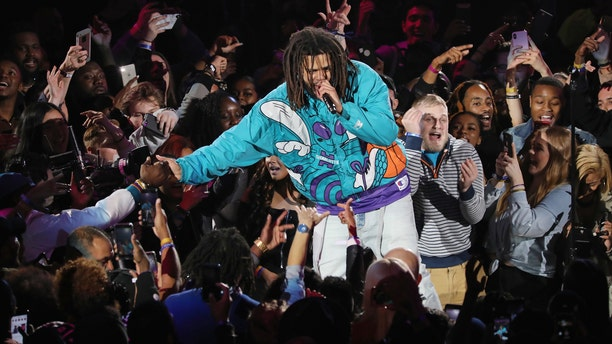 J. Cole performs at halftime during the 68th NBA All-Star Game at Spectrum Center on February 17, 2019 in Charlotte, North Carolina.