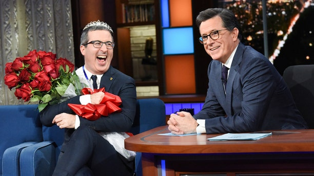 The Late Show with Stephen Colbert and guest John Oliver during February 11's, 2019 show. Photo: Scott Kowalchyk/CBS