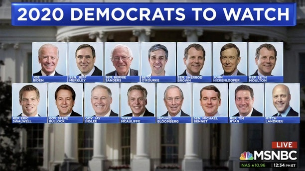 MSNBC had plenty of critics on social media over a graphic that featured a list of Democrats currently mulling a 2020 run for president.
