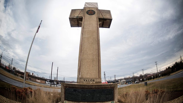 The World War I memorial cross in Bladensburg, Maryland -- near the nation's capital -- is seen on February 08, 2019. (ERIC BARADAT/AFP/Getty Images)