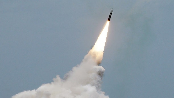 An unarmed Trident II D5 missile launches from the Ohio-class fleet ballistic missile submarine Maryland off the coast of Florida. The U.S. is seeking a low-yield warhead for the Trident.
