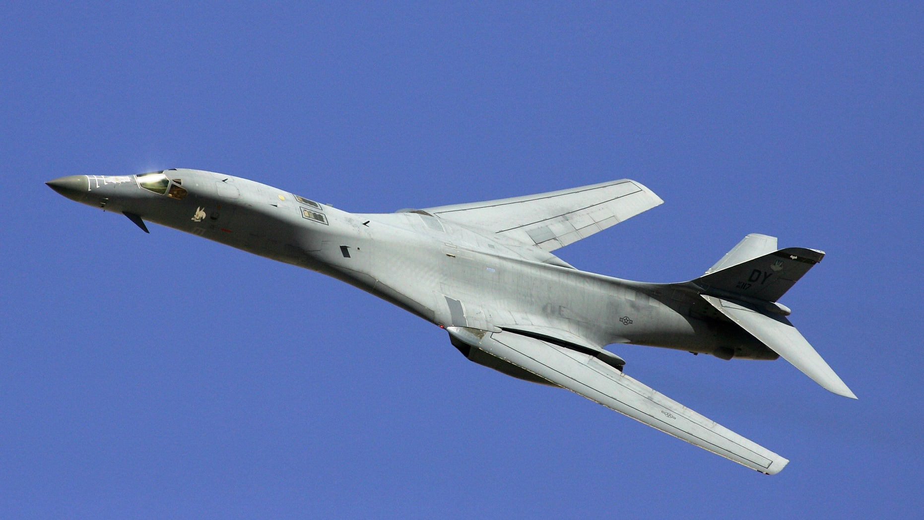 A B-1B Lancer during a U. S. Air Force firepower demonstration near Indian Springs, Nev., in 2007. The Air Forceannounced it's grounding its entire fleet of B-1B bombers. (Ethan Miller/Getty Images, File)