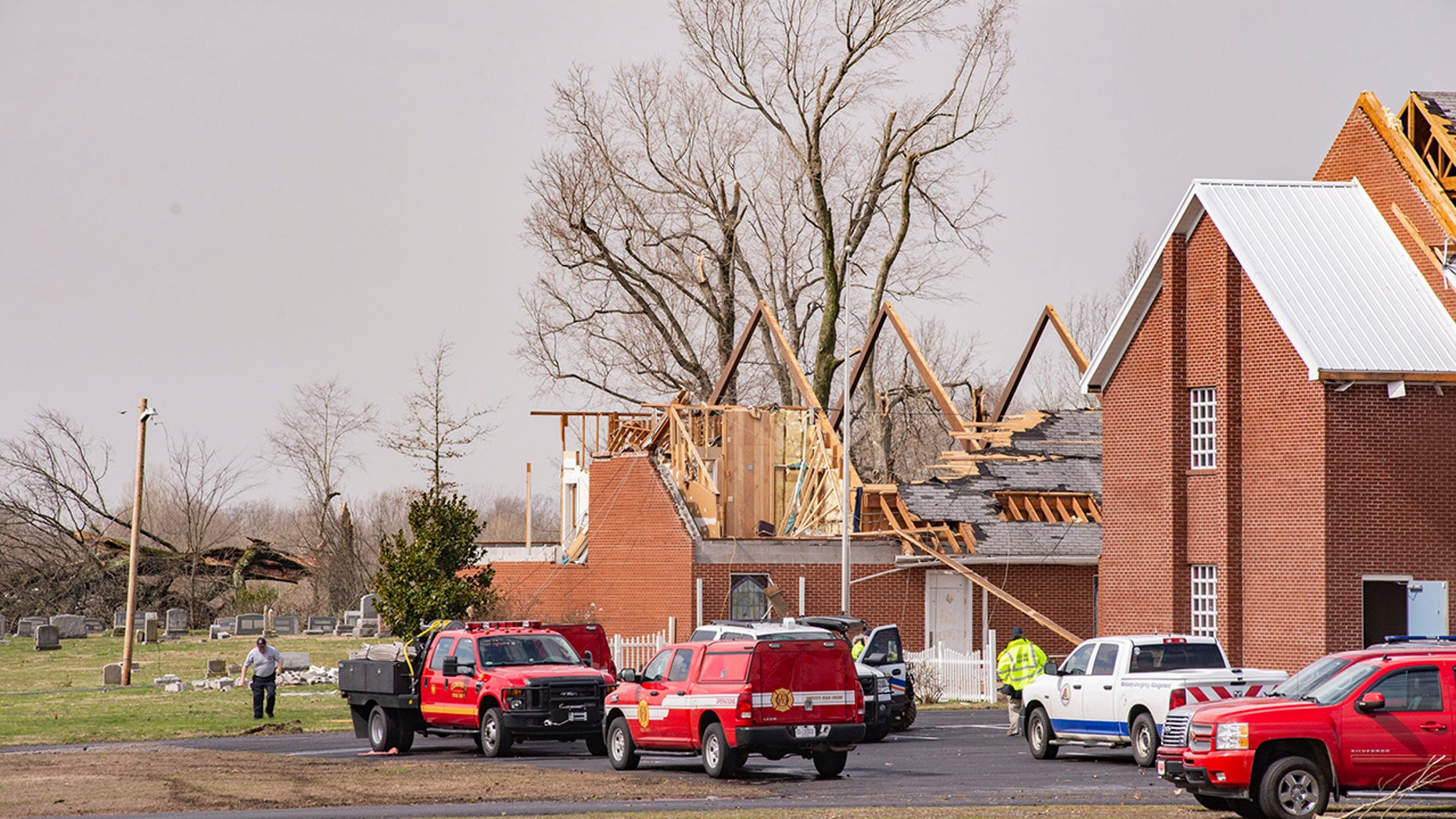 This Thursday, March 14, 2019 photo shows damage to Mount Zion Church in West Paducah, Ky. The twister left a path in western Kentucky from Lovelaceville through the West Paducah area, according to Keith Todd, a spokesman for the Kentucky Transportation Cabinet. (Dave Thompson/The Paducah Sun via AP)