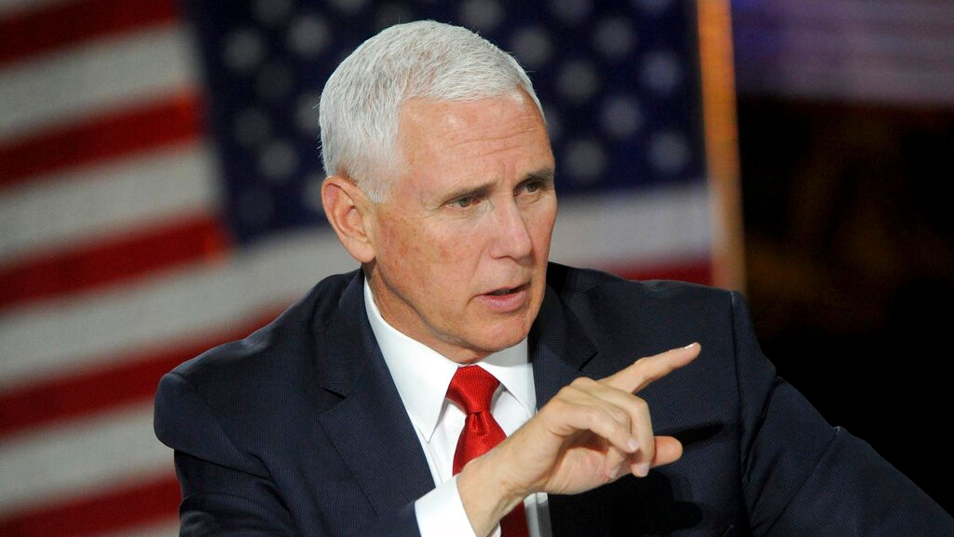 Vice President Mike Pence at the Fifth National Space Council meeting for astronauts on the moon within five years. (Associated Press)