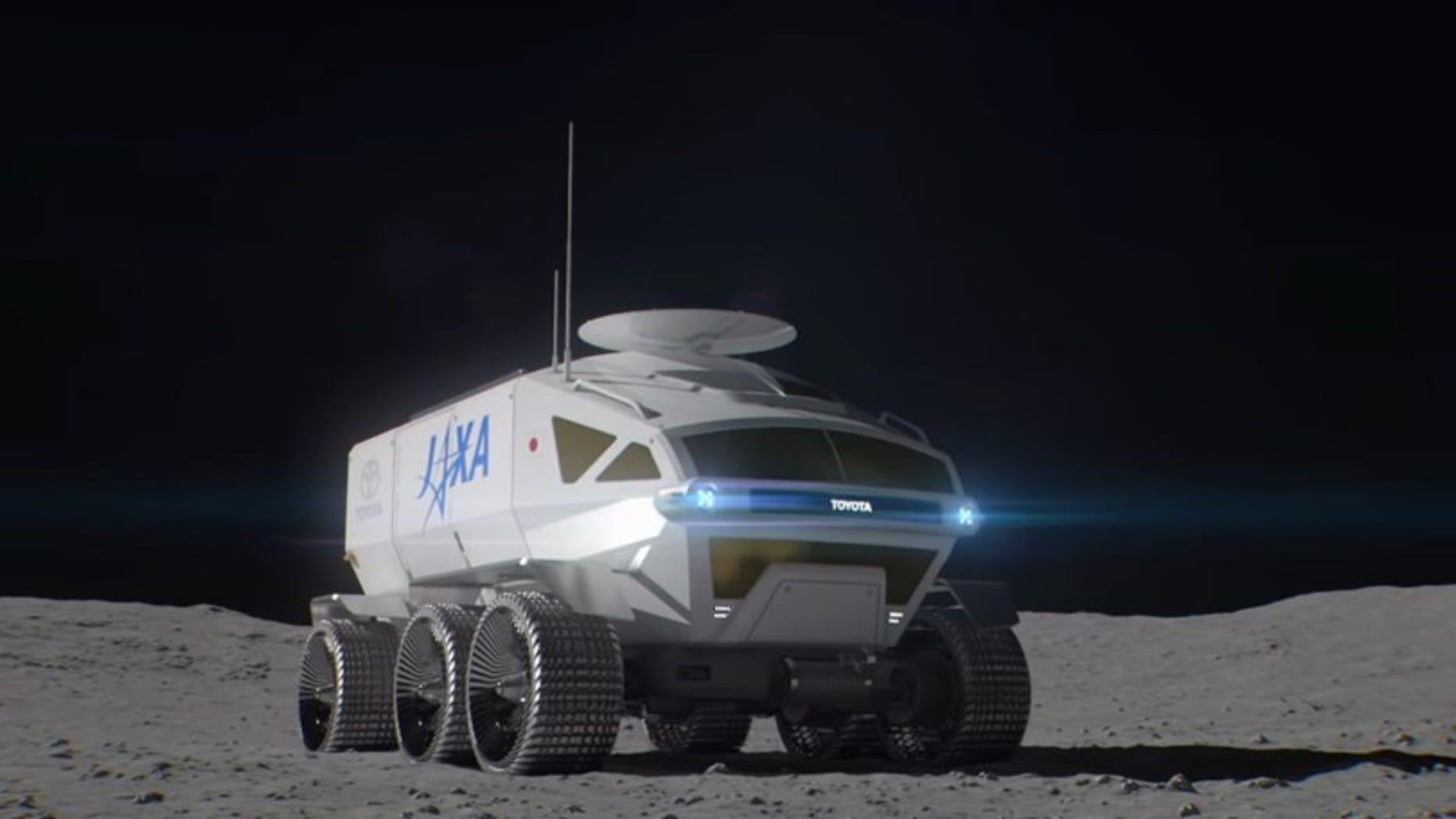 Toyota revealed its plans for a manned pressurized moon rover it hopes to land on the moon in 2029 in collaboration with the Japanese Aerospace Exploration Agency