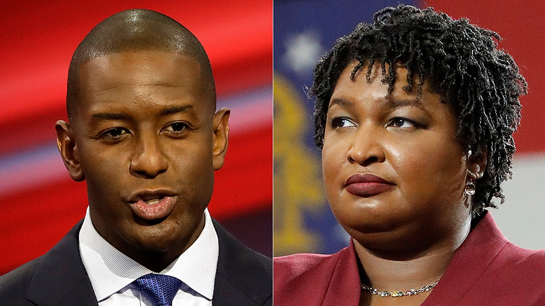 Former gubernatorial candidates Andrew Gillum, left, and Stacey Abrams, right.