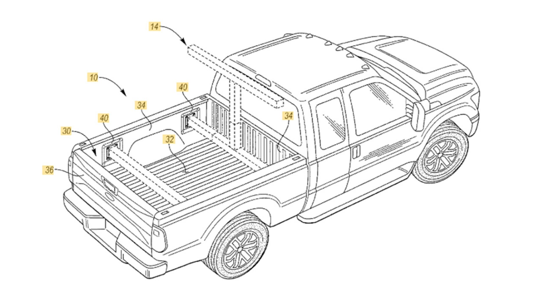 Drive-in theater? Ford patents pickup bed movie screen