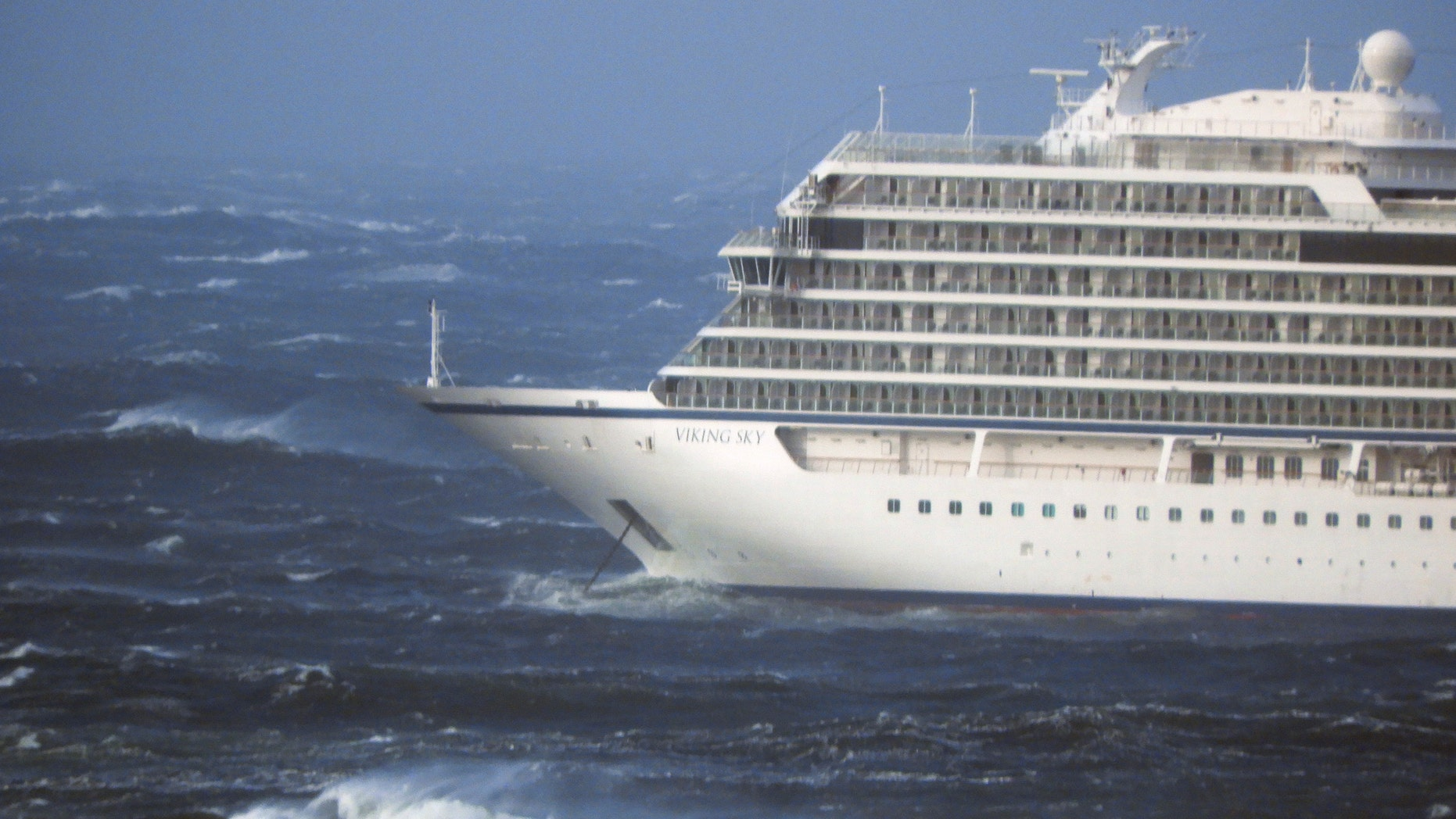 The cruise ship Viking Sky, at anchor in heavy seas, after it sent out a mayday signal because of engine failure in windy conditions, near Hustadvika, off the west coast of Norway.