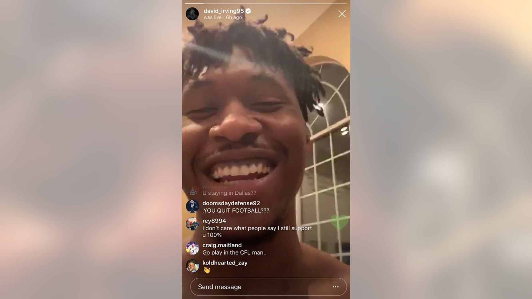 Dallas Cowboys defensive tackle David Irving quit football during a live video stream on Instagram.