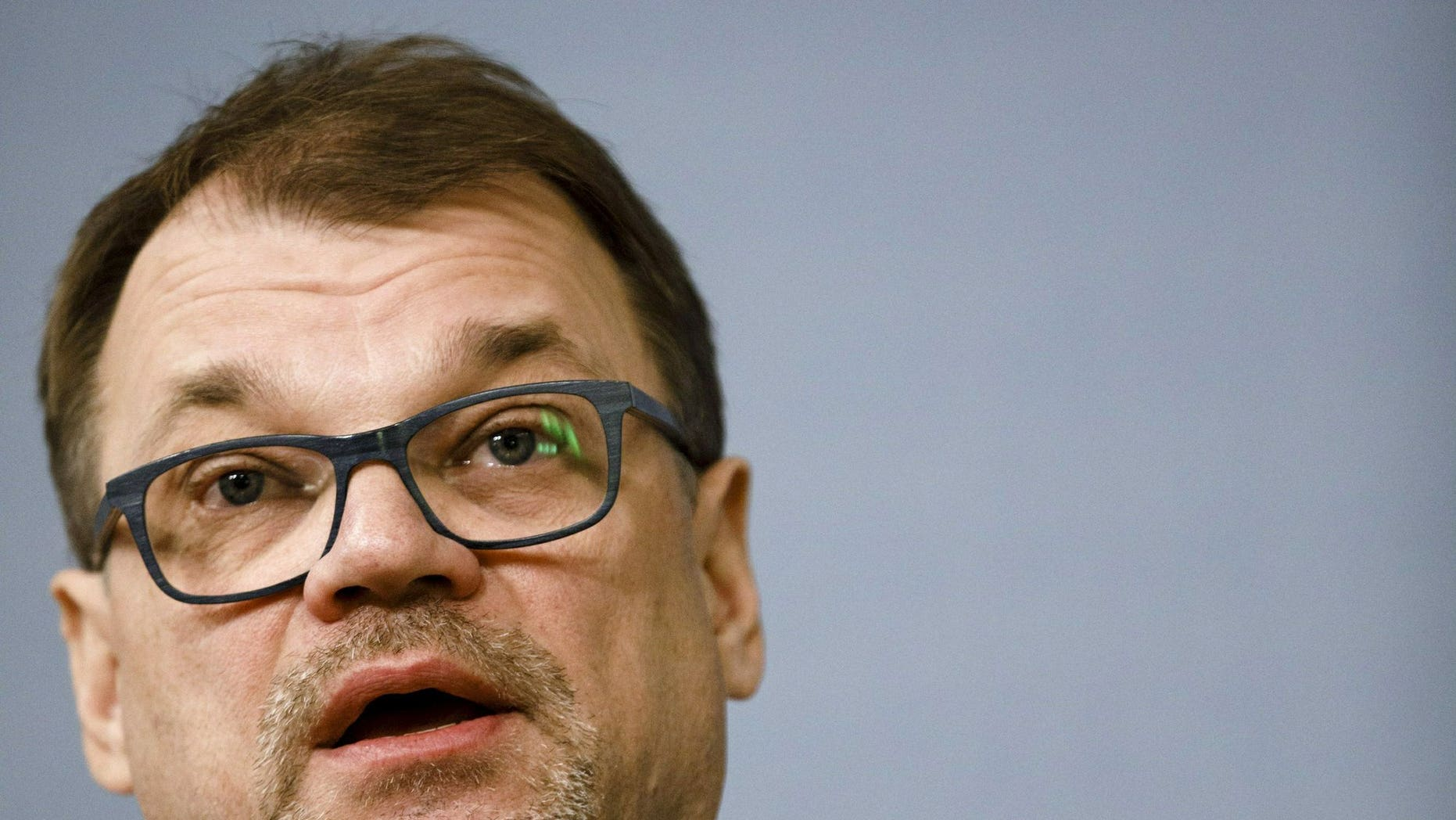 Finnish Prime Minister Juha Sipila announces his cabinet's resignation in a press conference at the prime minister's official residence Kes'ranta in Helsinki, Finland, Friday, March 8, 2019. Sipila's center-right government resigned Friday after failing to push through a planned social and health reform.