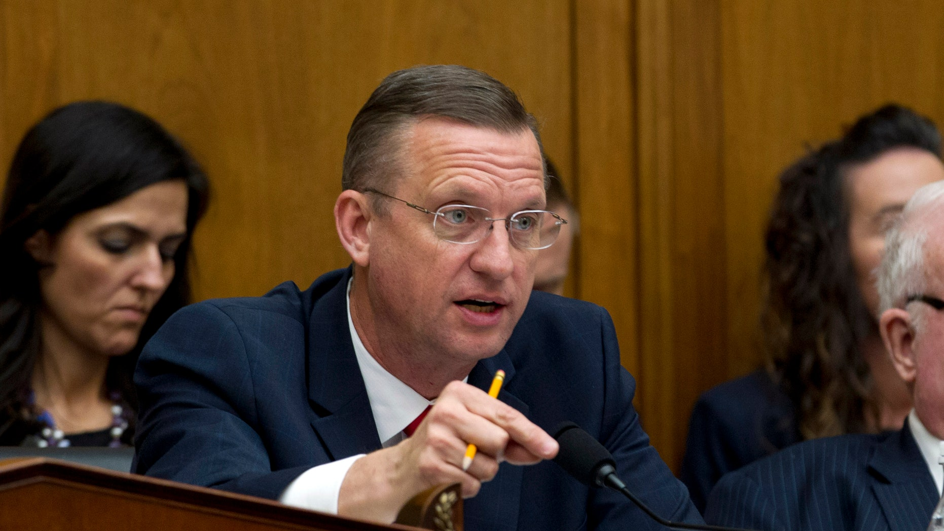 House Judiciary Committee Ranking Member Rep. Doug Collins, R-Ga. speaks during the House Judiciary Committee on the Trump administration's separation policy involving migrant families on Capitol Hill in Washington, Tuesday, Feb. 26, 2019. (AP Photo/Jose Luis Magana)