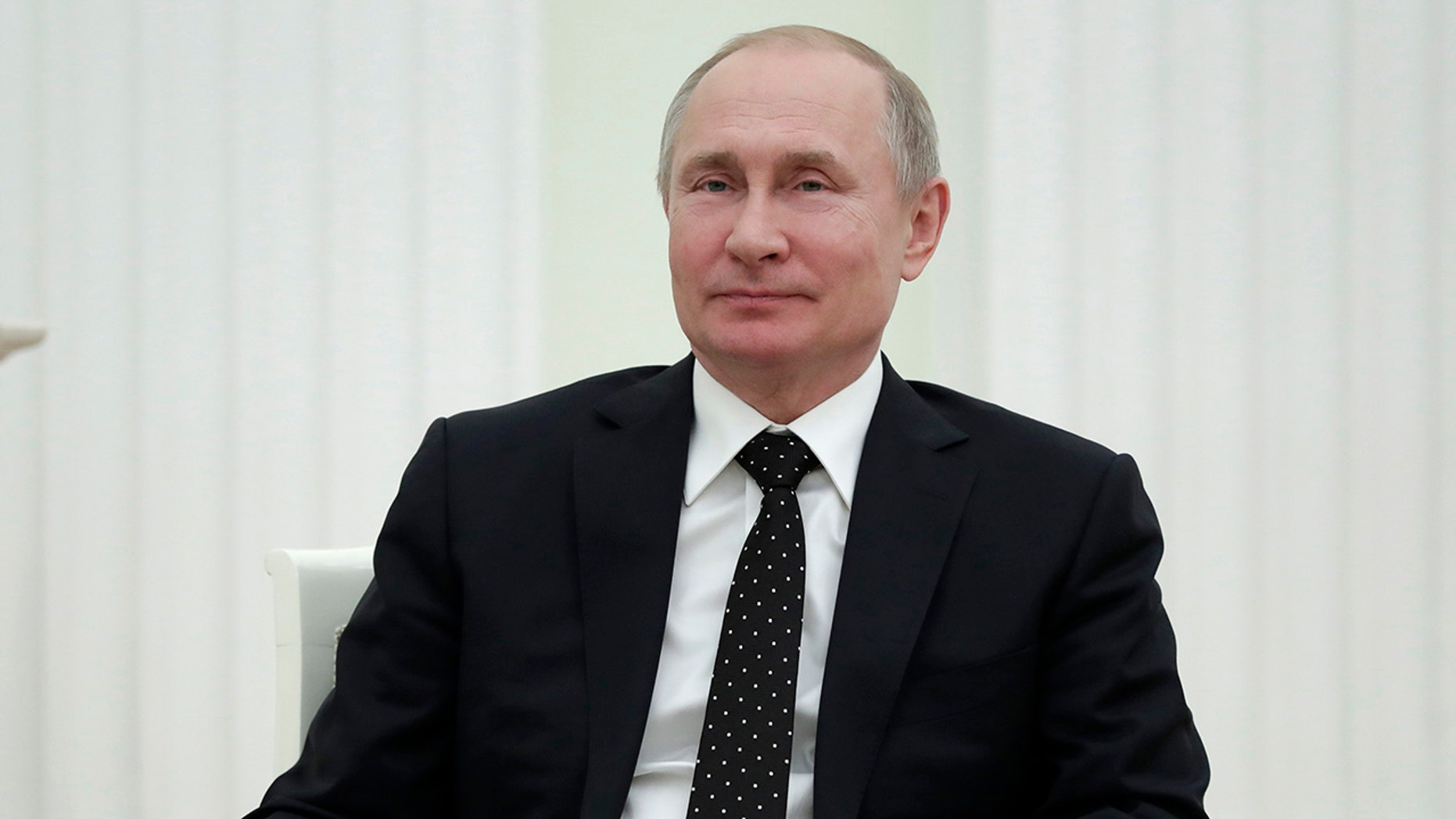 Russian President Vladimir Putin during meeting with Anatoly Bibilov, the leader of Georgia's breakaway region of South Ossetia, in the Kremlin in Moscow, Russia, Wednesday, March 6, 2019.