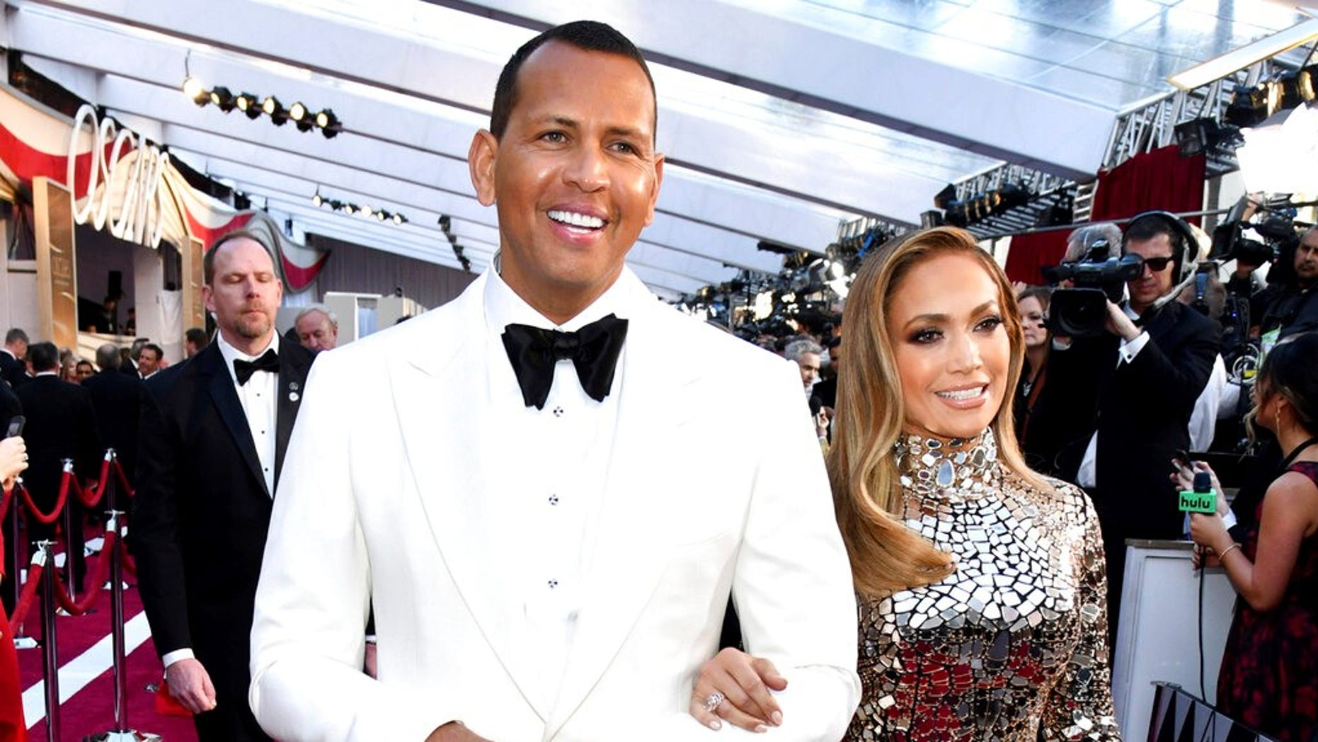 Alex Rodriguez and Jennifer Lopez arrive at the Oscars at the Dolby Theatre in Los Angeles on Feb. 24, 2019.