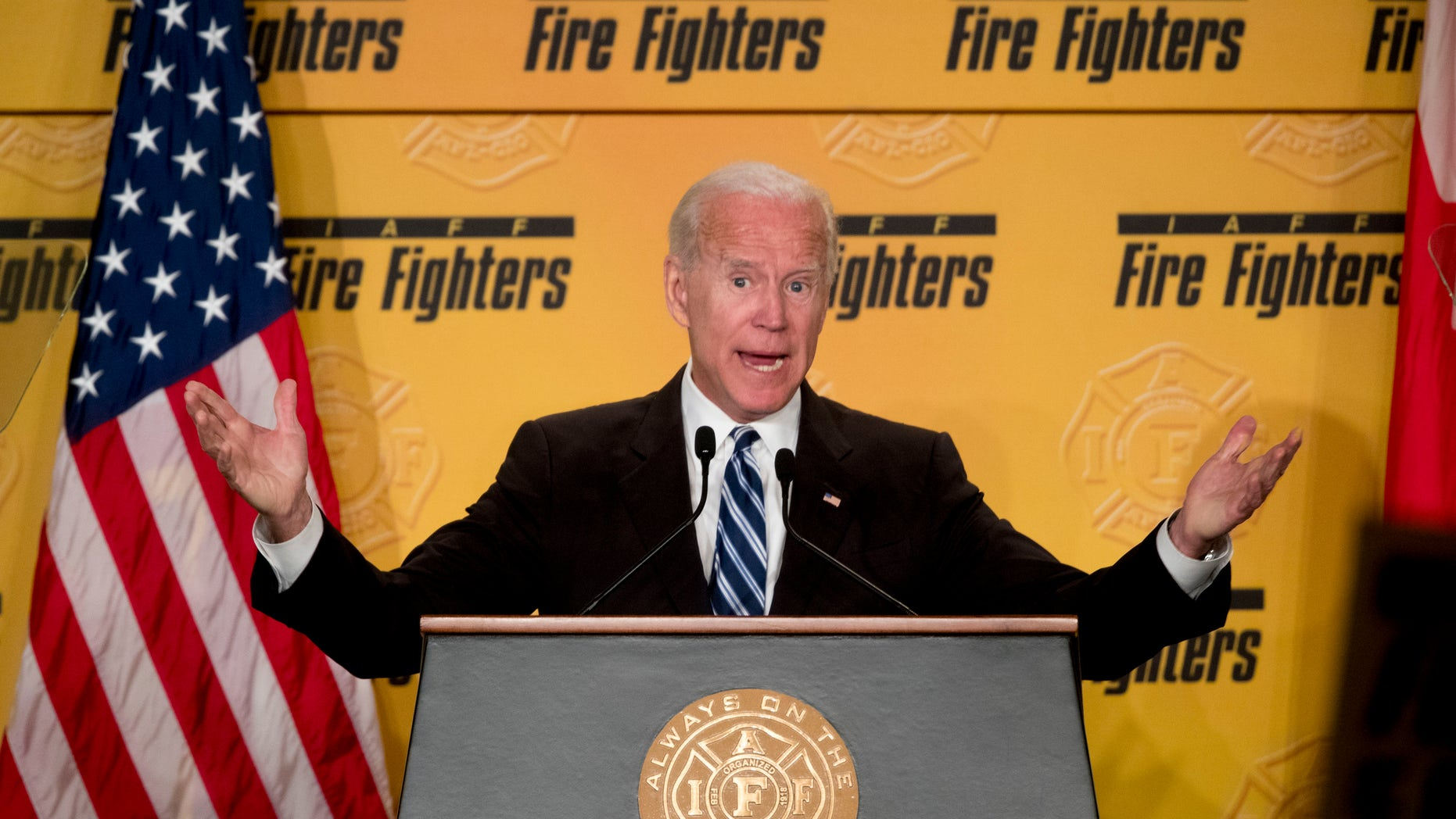 Former Vice President Joe Biden speaks in Washington, Tuesday, March 12, 2019, amid growing expectations he'll soon announce he's running for president. (Associated Press)