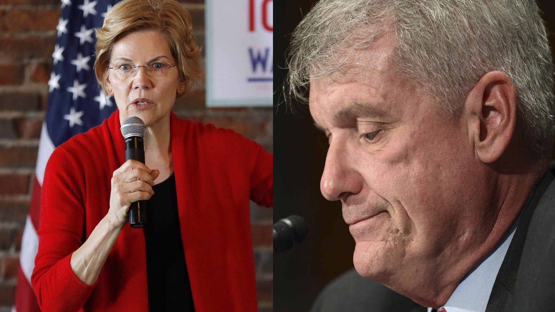 Sen. Elizabeth Warren, D-Mass., cheered at news that Wells Fargo CEO Tim Sloan announced his resignation Thursday.