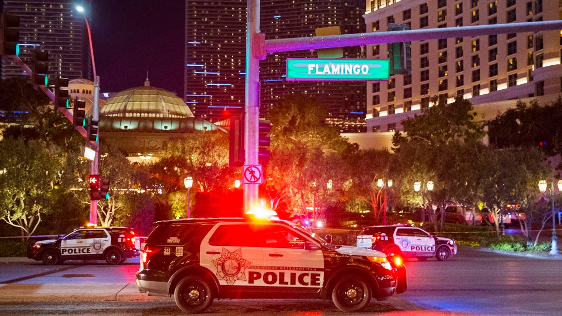 Police respond to an officer-involved shooting in front of Bellagio on Friday, March 15, 2019, in Las Vegas. (Associated Press)