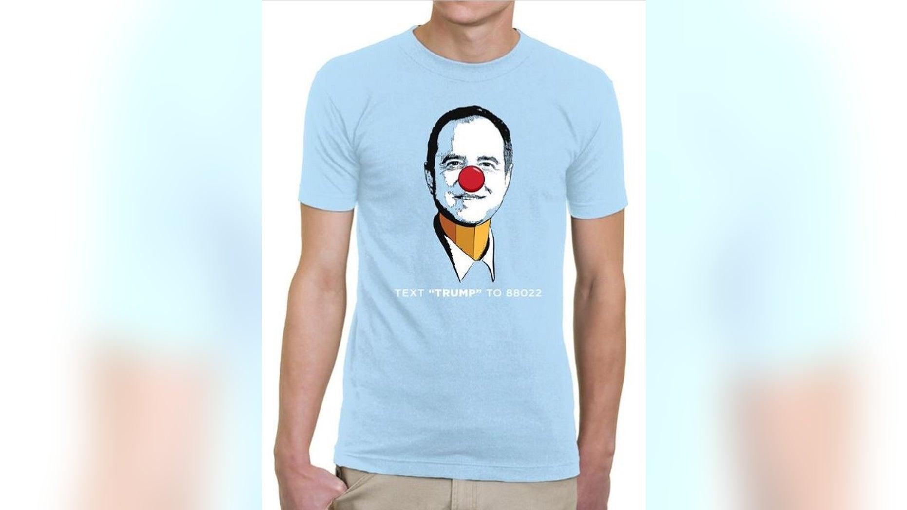 "President's Trump 2020 presidential campaign is selling""Pencil-NeckAdam Schiff"" T-shirts."