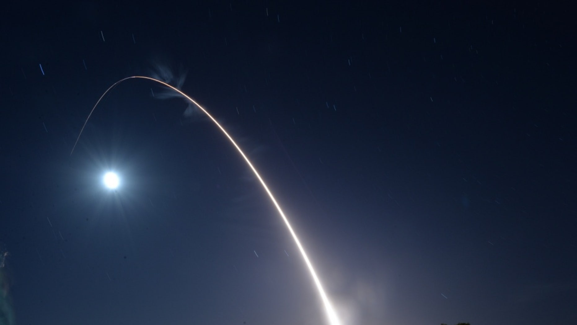File photo - An unarmed U.S. Air Force Minuteman III intercontinental ballistic missile launches during an operational test May 3, 2017, at Vandenberg Air Force Base, Calif. (U.S. Air Force photo by Airman 1st Class Daniel Brosam)
