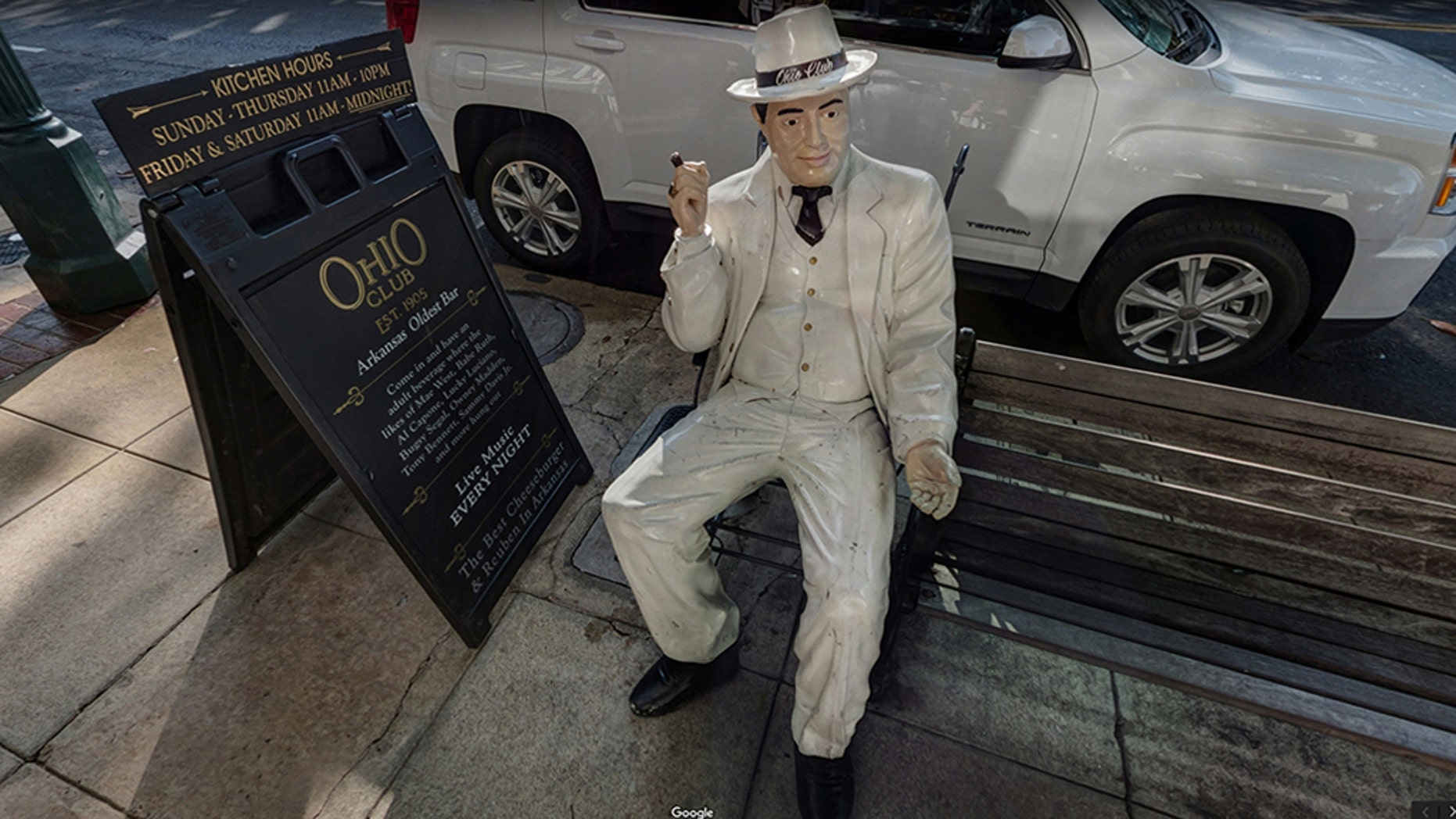 Two men allegedly tried to steal this statue of Al Capone outside the Ohio Club in Hot Springs, Arkansas, according to reports.