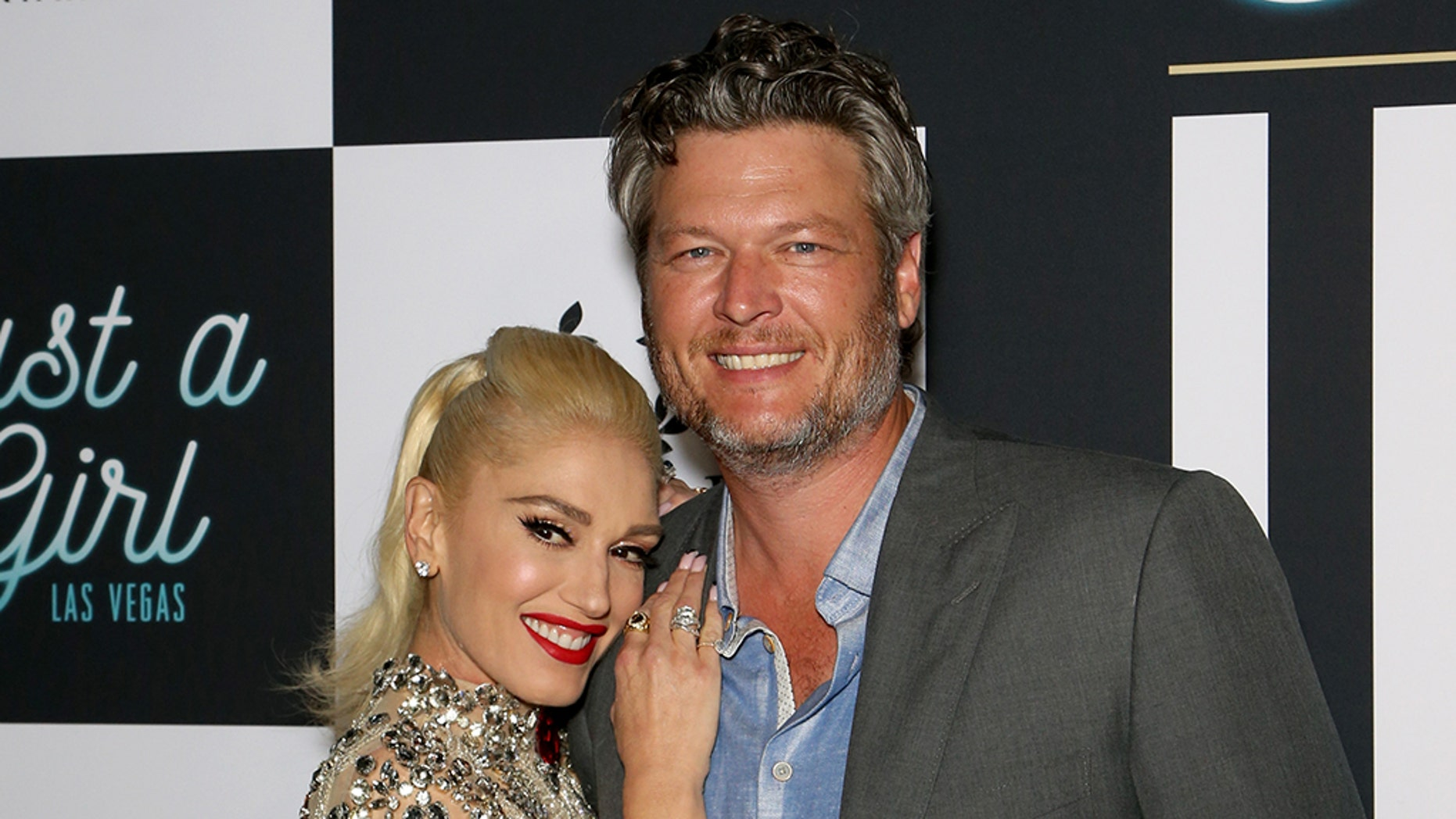 """Singer Gwen Stefani (L) and recording artist Blake Shelton attend the grand opening of the """"Gwen Stefani - Just a Girl"""" residency at Planet Hollywood Resort and Casino."""