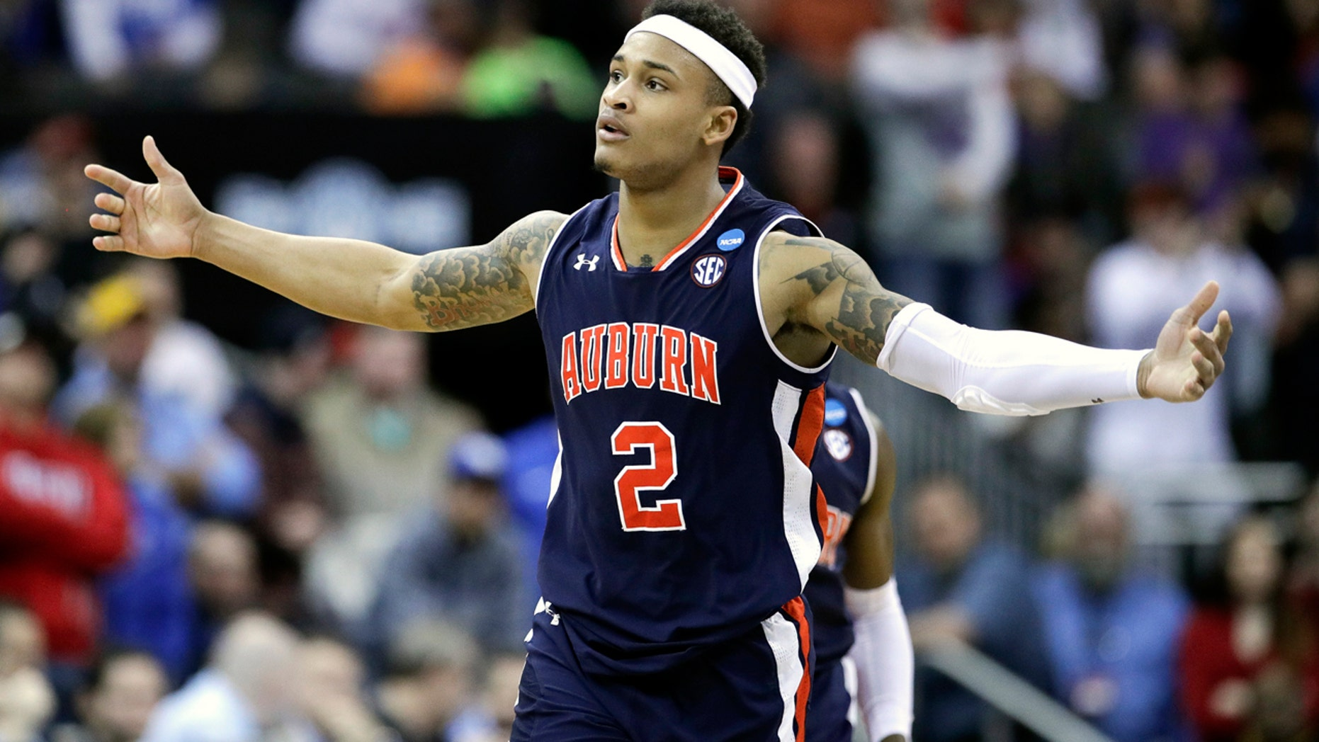 Bryce Brown was Auburn's joint top scorer in the overtime win with 24 points. (AP Photo/Charlie Riedel)