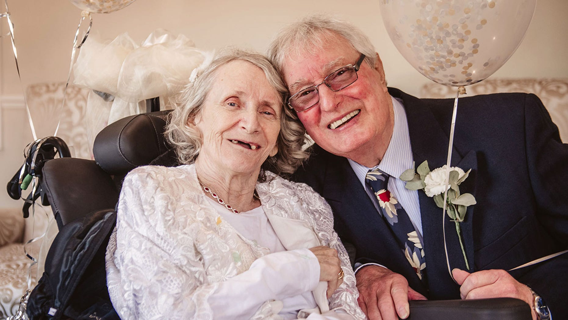 Love wins! A longtime couple in the U.K. are now symbolically husband and wife, after the septuagenarians tied the knot in an informal wedding blessing ceremony on Valentine's Day.