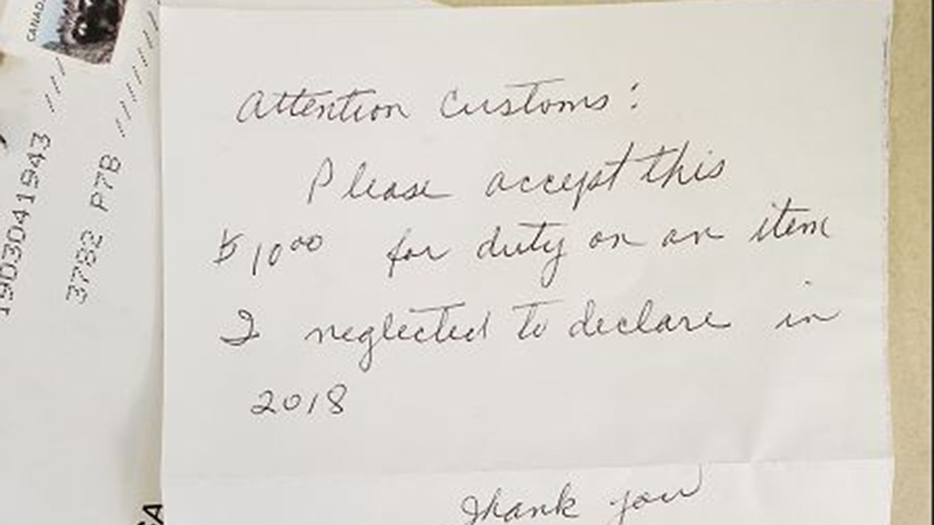 Last Tuesday, Canada Border Services Agency (CBSA) officers at the Pigeon River port of entry on the Ontario/Minnesota border received an interesting handwritten letter.<br>